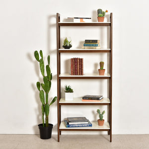 Moby White and Walnut Bookshelf