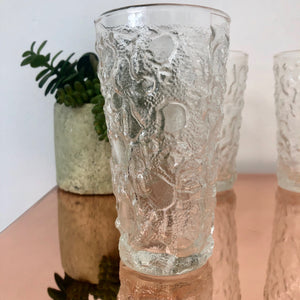 1960's volcano glass textured drinking glass