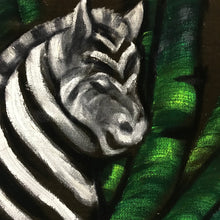 Load image into Gallery viewer, Zebra jungle oil on velvet painting signed l