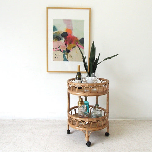 Round Bamboo Boho Bar Cart