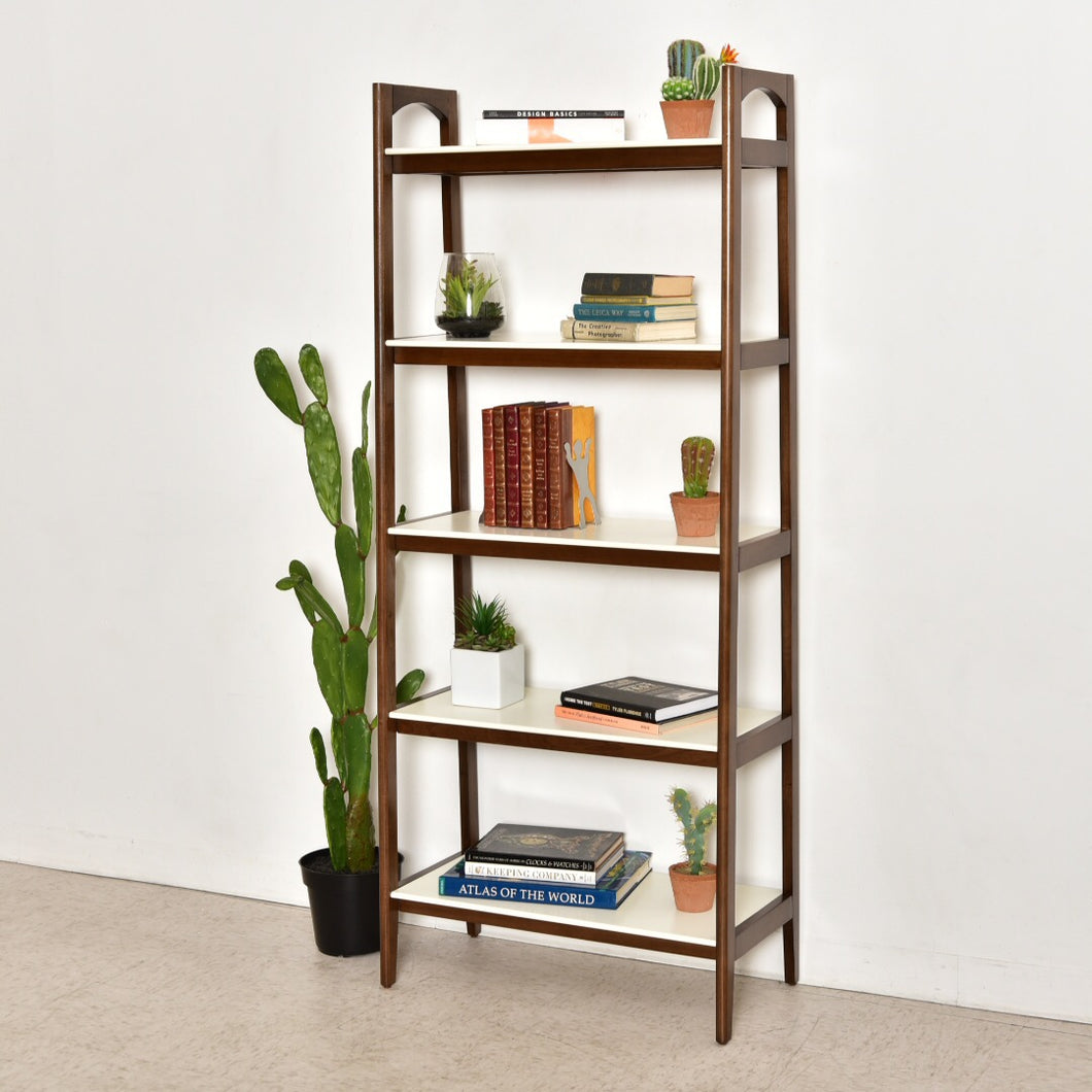 """Moby"" White and Walnut Bookshelf"