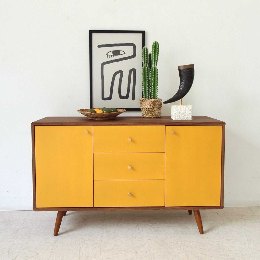 """Mika"" Cabinet Buffet Credenza in Mustard"