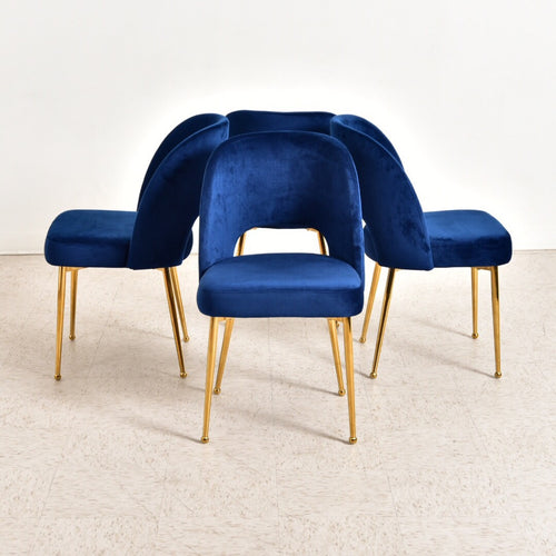 "Blue ""Knolla"" Velvet and Gold Dining Chair"