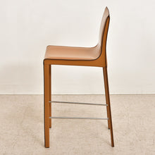 "Load image into Gallery viewer, ""Simone"" Sleek Leather Bar Stool"