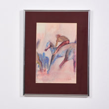 Load image into Gallery viewer, watercolor painting of horse and rider