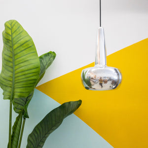 Sleek Chrome Small Tear Drop Hanging Lamp