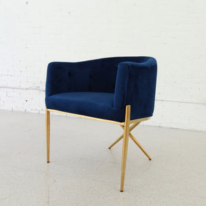 Celine Deep Blue Velvet and Brass Lounge Chair