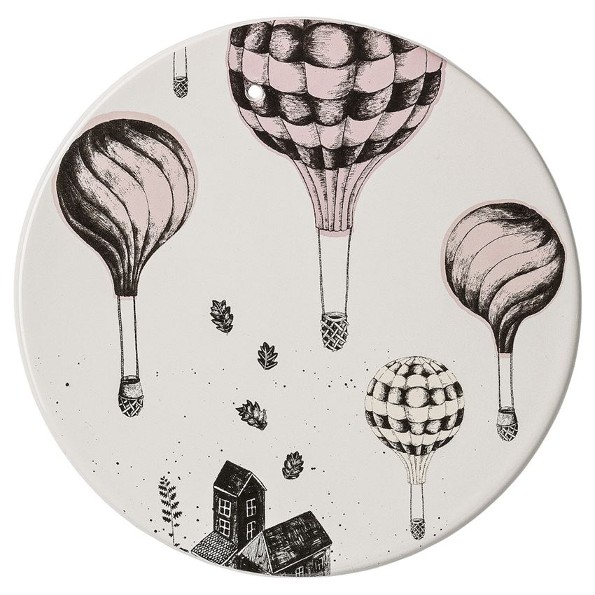 Round Ceramic Plate w/ Balloons