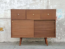 "Load image into Gallery viewer, ""Victor"" walnut mid century narrow entry piece credenza w/3 drawers"