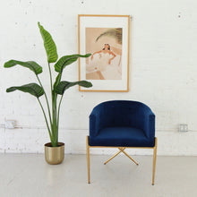 Load image into Gallery viewer, Celine Deep Blue Velvet and Brass Lounge Chair