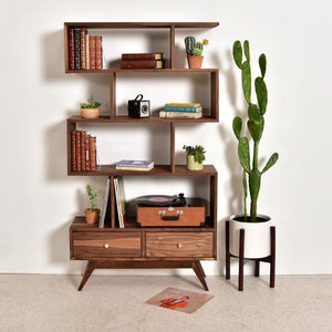 Natural Walnut Isabel Shelf with Bottom Drawers