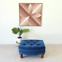 Load image into Gallery viewer, Mid Century Stuffed Royal Blue Ottoman