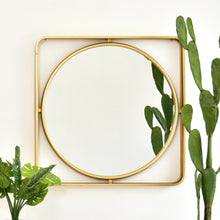 Load image into Gallery viewer, Gold Circle Within a Square Elegant Mirror