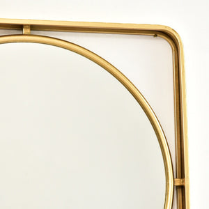 Gold Circle Within a Square Elegant Mirror