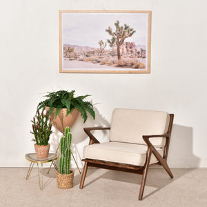 Ziggy Solid Walnut Lounge Chair in Cream