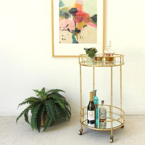 Tropicana Round Gold Bamboo Bar Cart Serving Cart