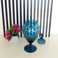 Load image into Gallery viewer, Huge Midcentury Blue Glass Vase with Lid