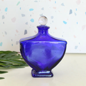 Cobalt Blue Art Deco Perfume Bottle