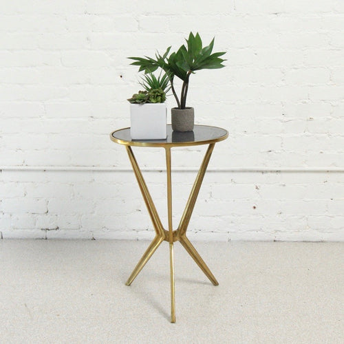 Diana Smoked Glass and Gold Side Table