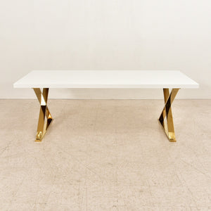 Brass Legs White Dining Table