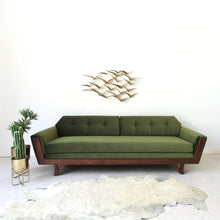 Load image into Gallery viewer, Desmond Walnut Olive Green Sofa