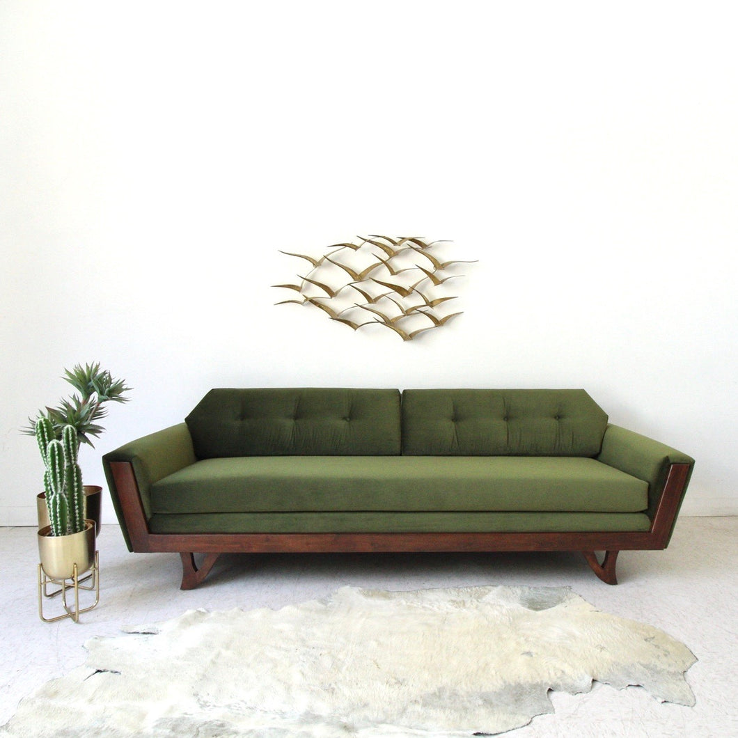 Desmond Walnut Olive Green Sofa