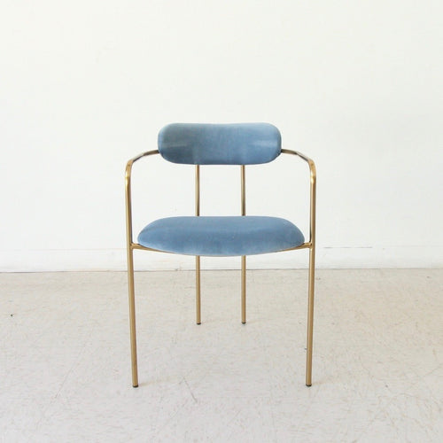 Tabatha Brass Chair in Dusty Blue