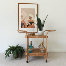 Load image into Gallery viewer, Woven Bamboo Bar Cart