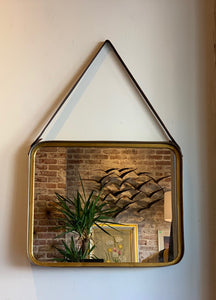 Rectangle brass and metal mirror with leather strap