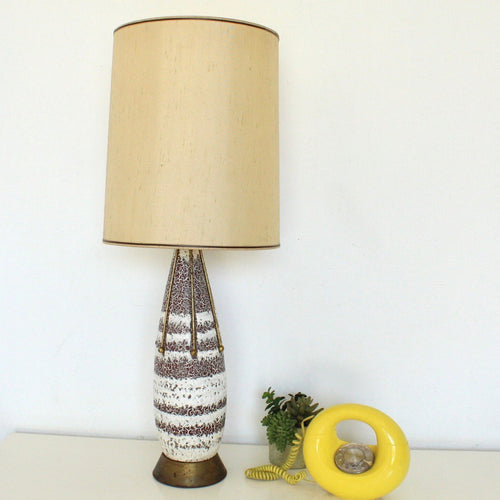 Vintage Original Ceramic Gold and Brass Table Lamp
