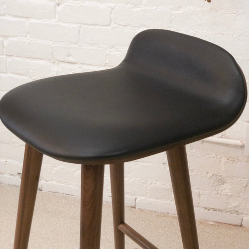 Mid Century Black Leather Barstool