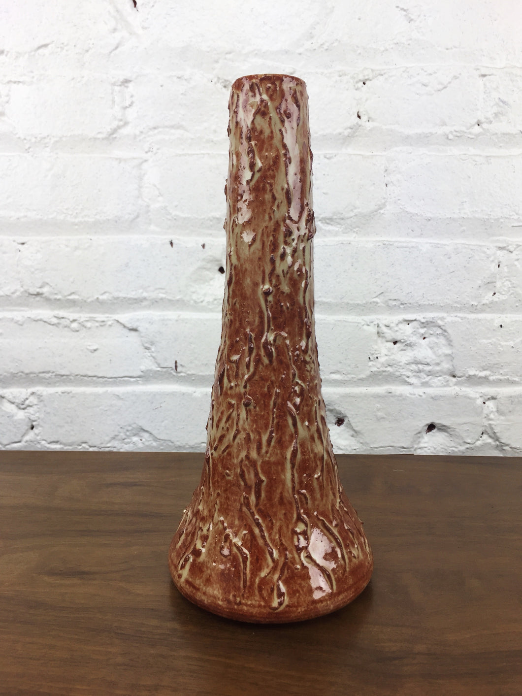 Abstract Texture Ceramic Tall Slender Vase Orange & Green Gloss Glaze