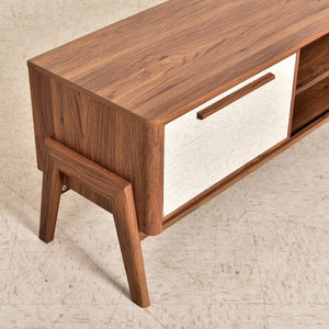 Low Profile Walnut Two Door Credenza