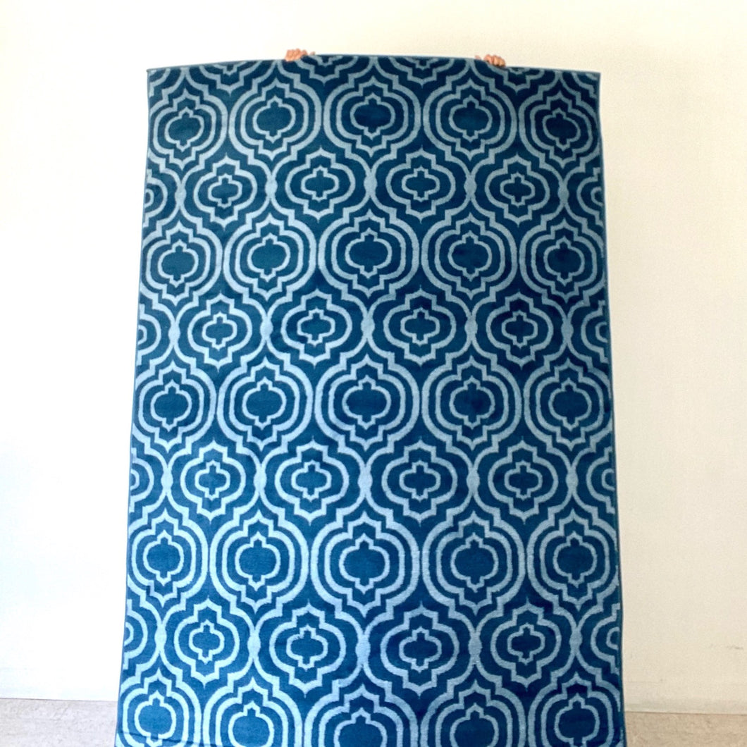 Moroccan Blue and White Modern Rug