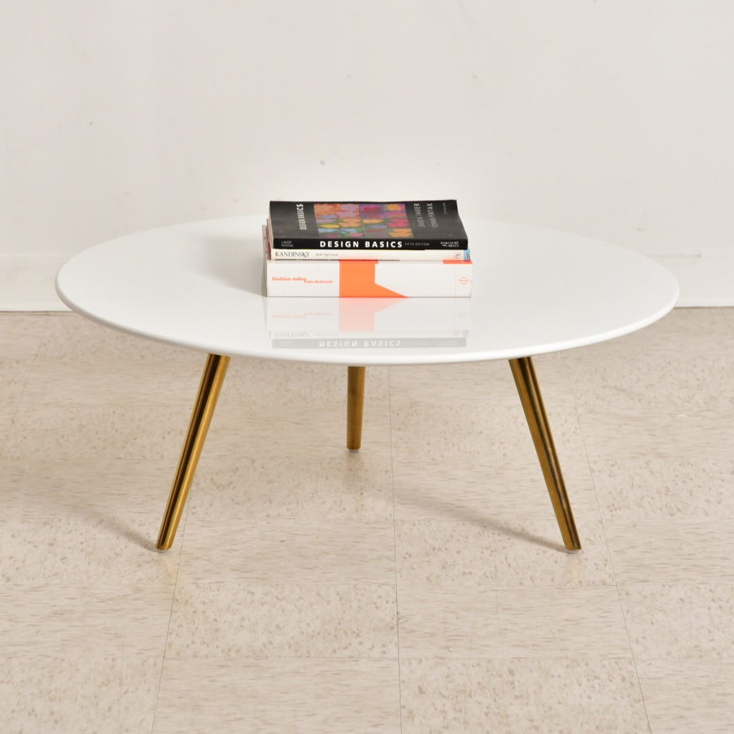 White Top Brass Coffee Table