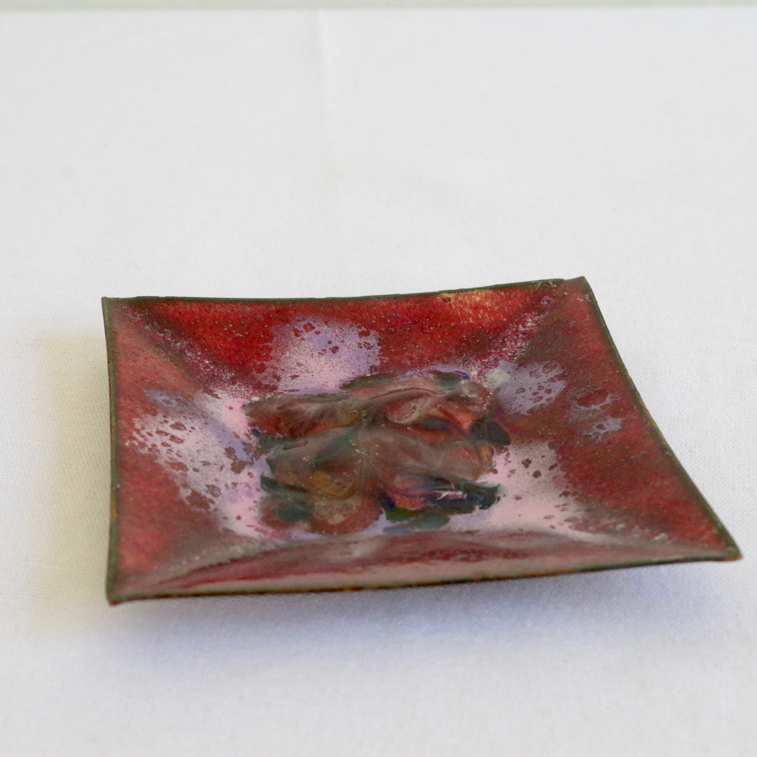 Purple and Pink Enamel Ashtray