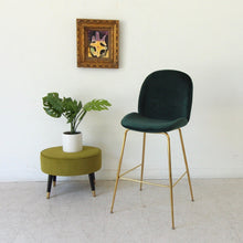 Load image into Gallery viewer, Serena Dark Green Brass Barstool
