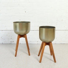 Load image into Gallery viewer, Brisa Gold Planter with Wood Legs