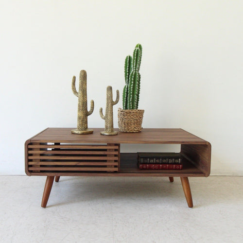Rowan Slat Coffee Table with Sliding Doors