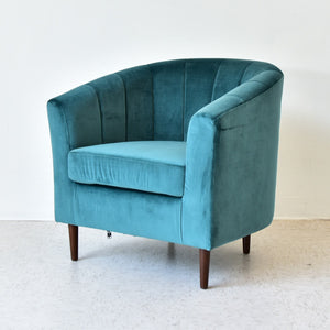 Teal Velvet Channeled Club Chair