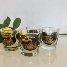 Load image into Gallery viewer, 4 Gold and Black Whiskey Glasses