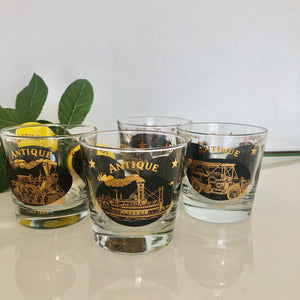 4 Gold and Black Whiskey Glasses