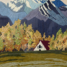 Load image into Gallery viewer, Mid Century Landscape Crewel Embroidery