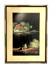 "Load image into Gallery viewer, ""Gone fishing""vintage painting"