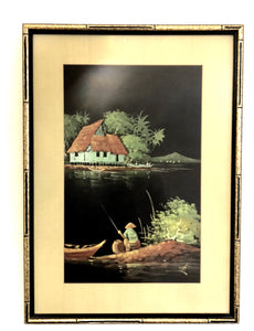 """Gone fishing""vintage painting"