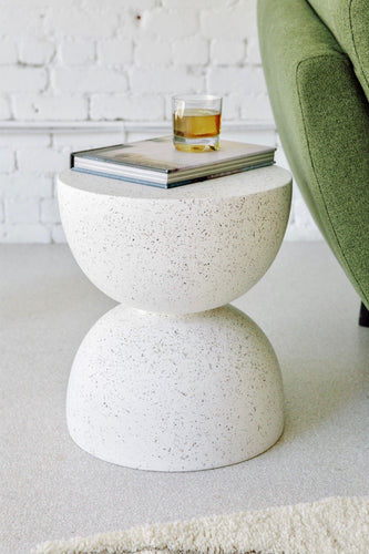 Speckled Terrazzo Fiberglass Side Table/End Table