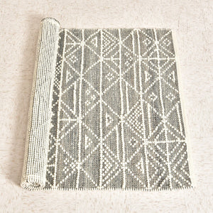 Hand-Woven Wool Rug w/ Pattern, Grey & Cream