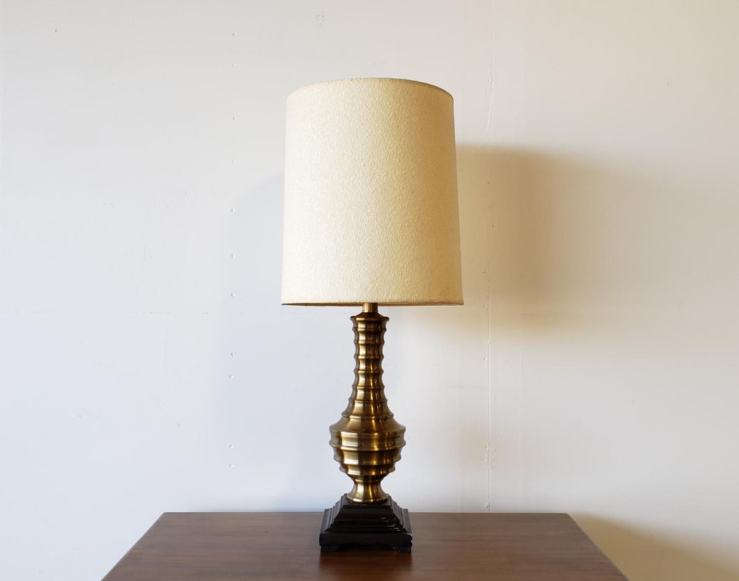 Brass Spindle Lamp on Black Plinth