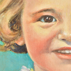 Oil Painting of a Little Girl Framed