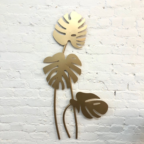Brass Monstera Plant Wall Decor